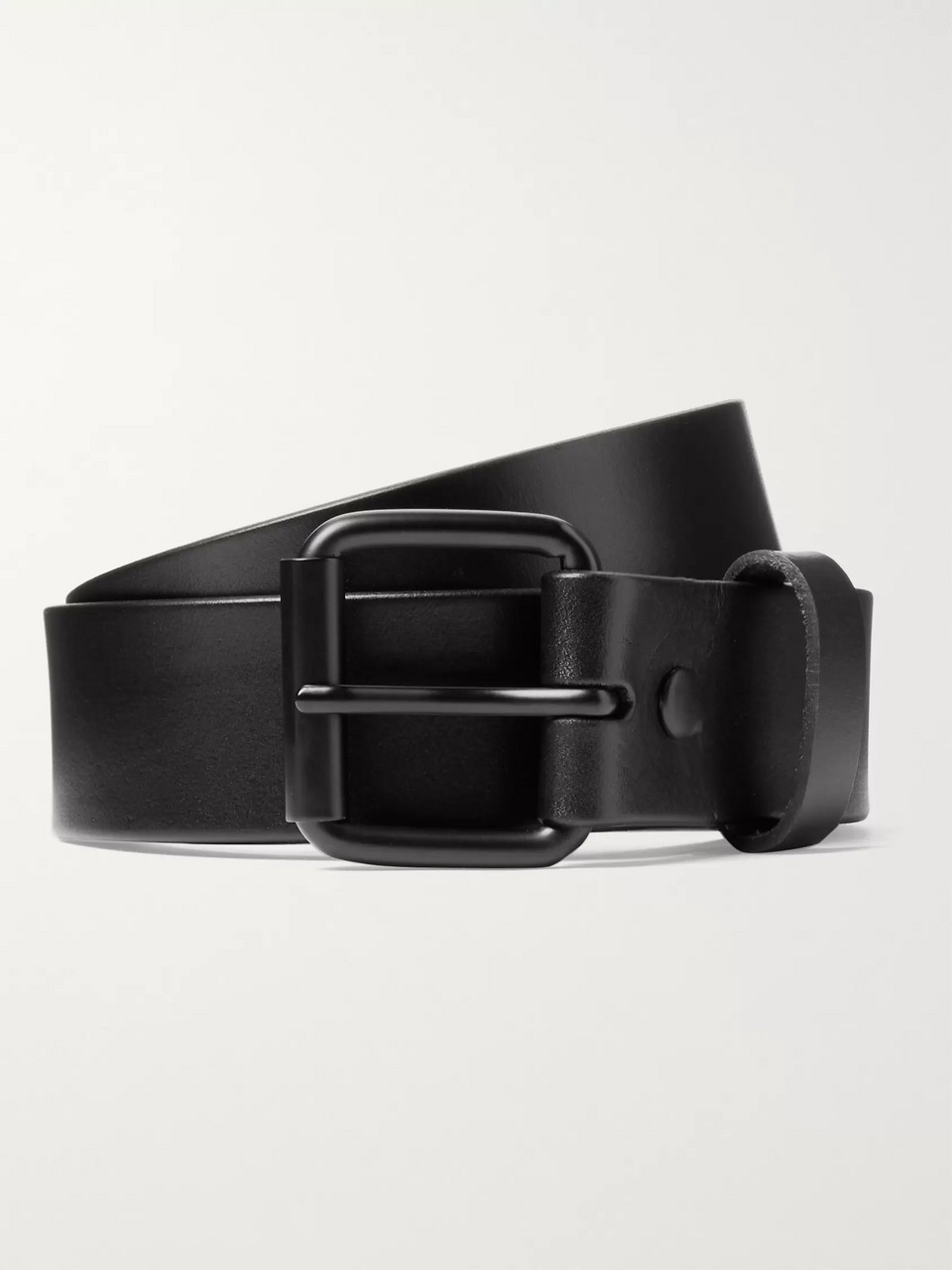 Saturdays NYC 3.5cm Rockaway Black Leather Belt