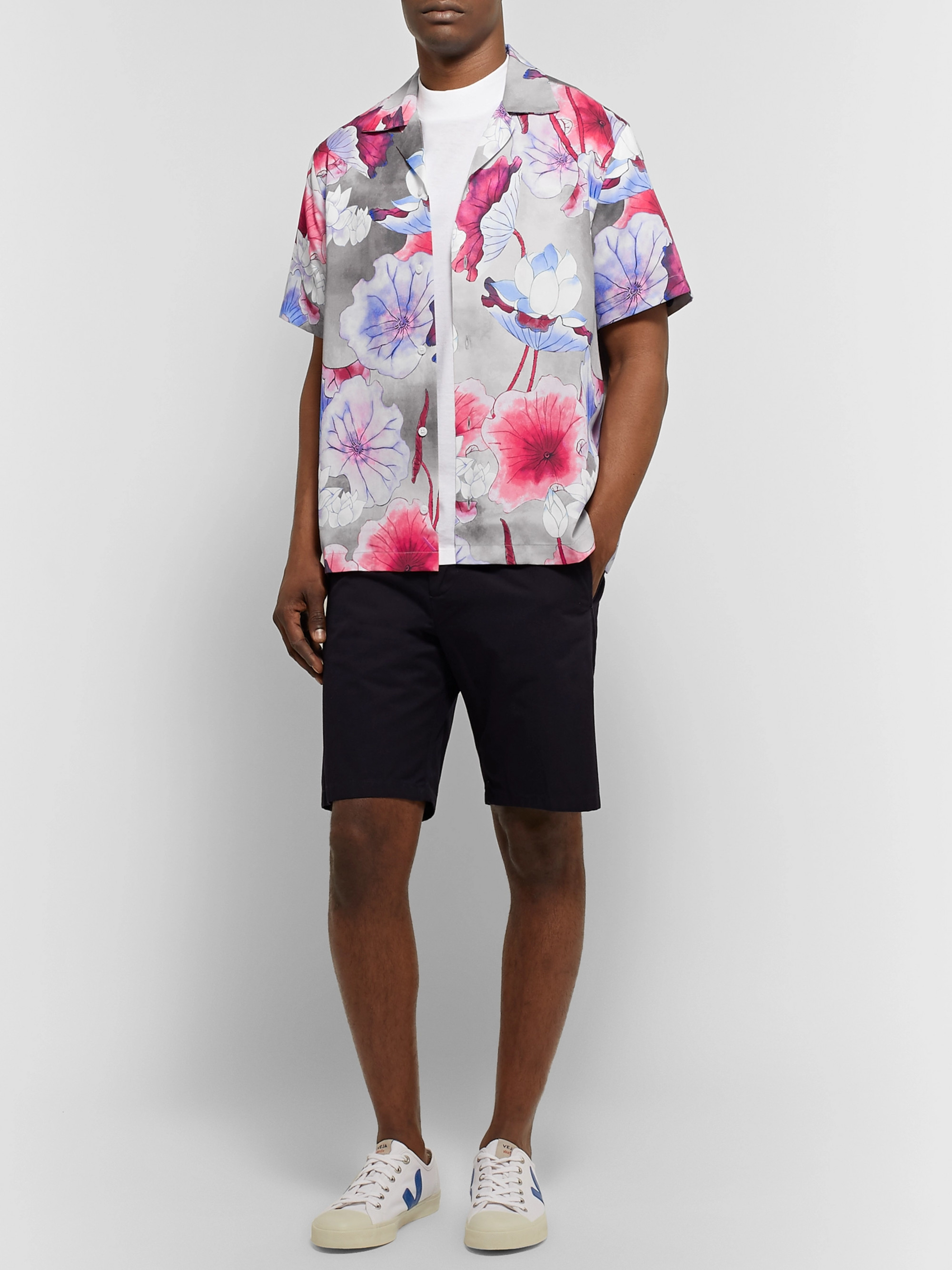 Saturdays NYC Camp-Collar Printed Lyocell Shirt