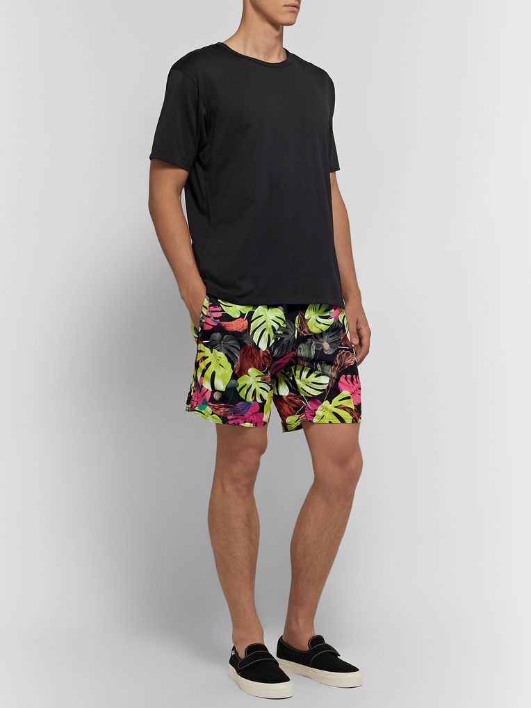 Saturdays NYC Wide-Leg Mid-Length Printed Swim Shorts