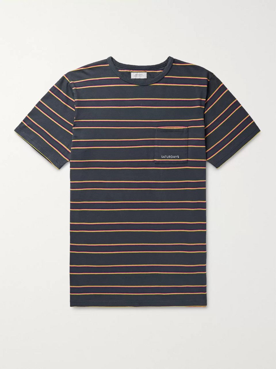 Saturdays NYC Logo-Embroidered Striped Cotton-Jersey T-Shirt