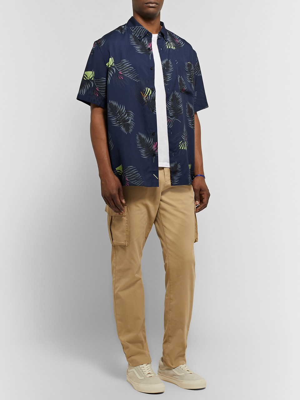 Saturdays NYC Button-Down Collar Printed Lyocell Shirt