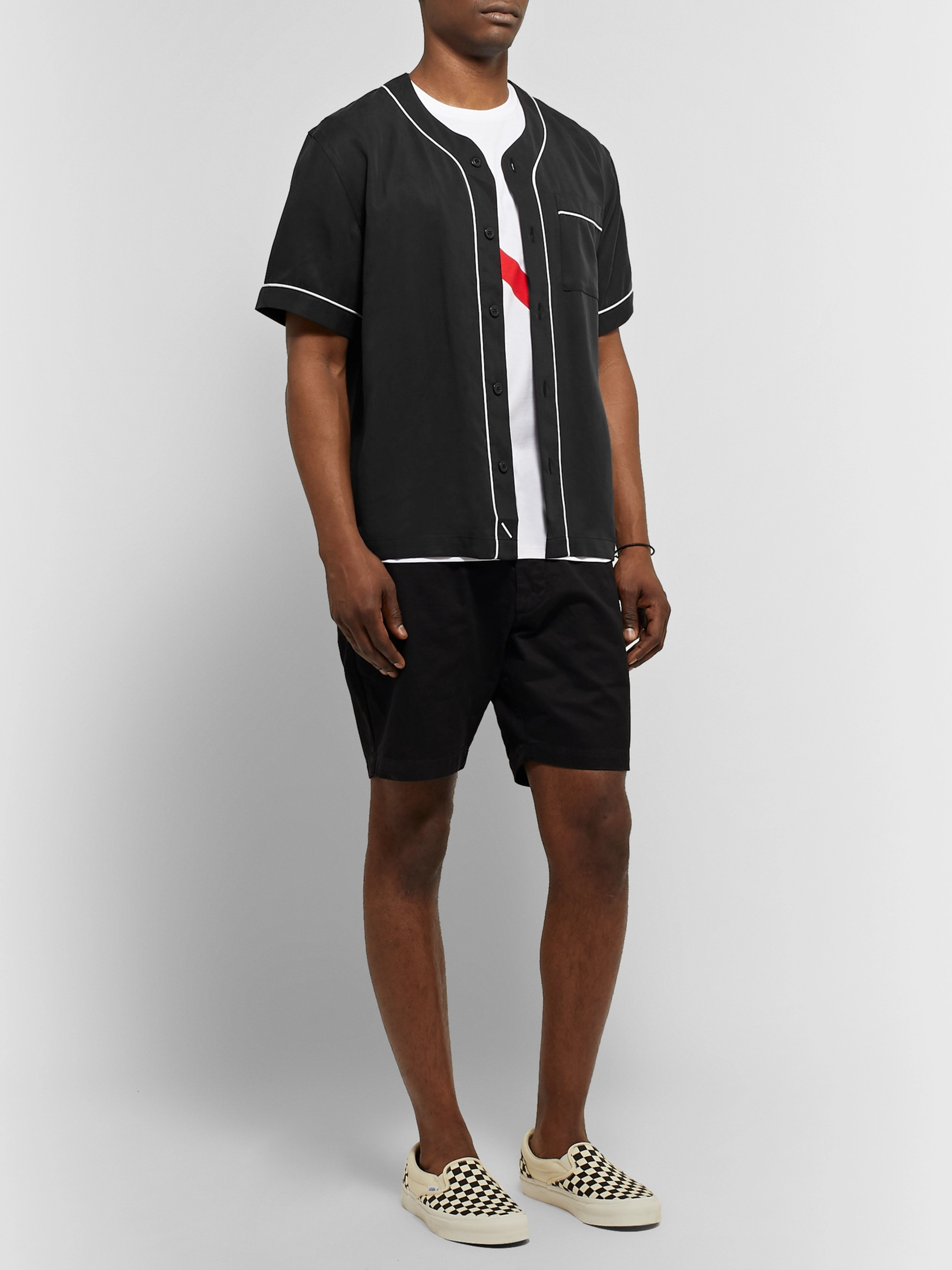 Saturdays NYC Piped Lyocell Baseball Shirt