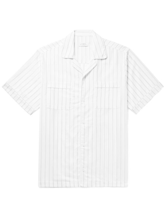 Saturdays NYC Cameron Camp-Collar Striped Cotton-Blend Dobby Shirt