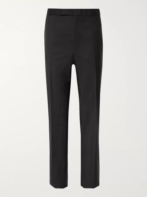 Richard James Black Satin-Trimmed Wool and Mohair-Blend Tuxedo Trousers