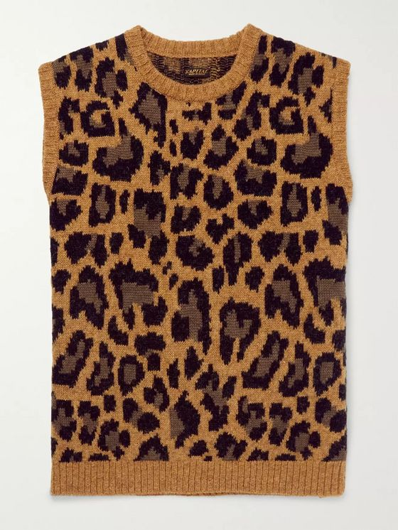 KAPITAL Leopard-Jacquard Wool-Blend Sweater Vest