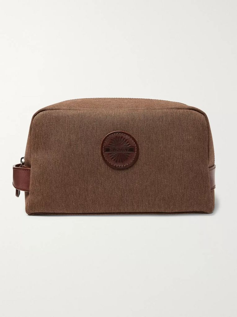 James Purdey & Sons Leather-Trimmed Nettle Cotton-Canvas Wash Bag