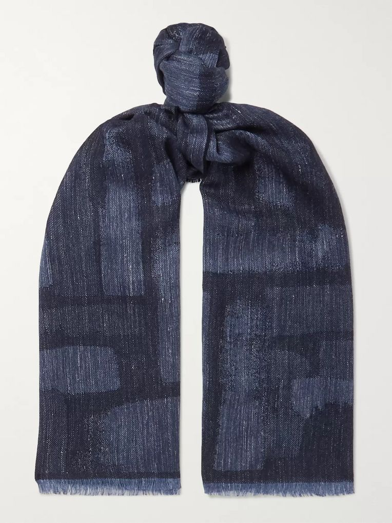 Johnstons of Elgin Mélange Wool, Silk and Linen-Blend Scarf