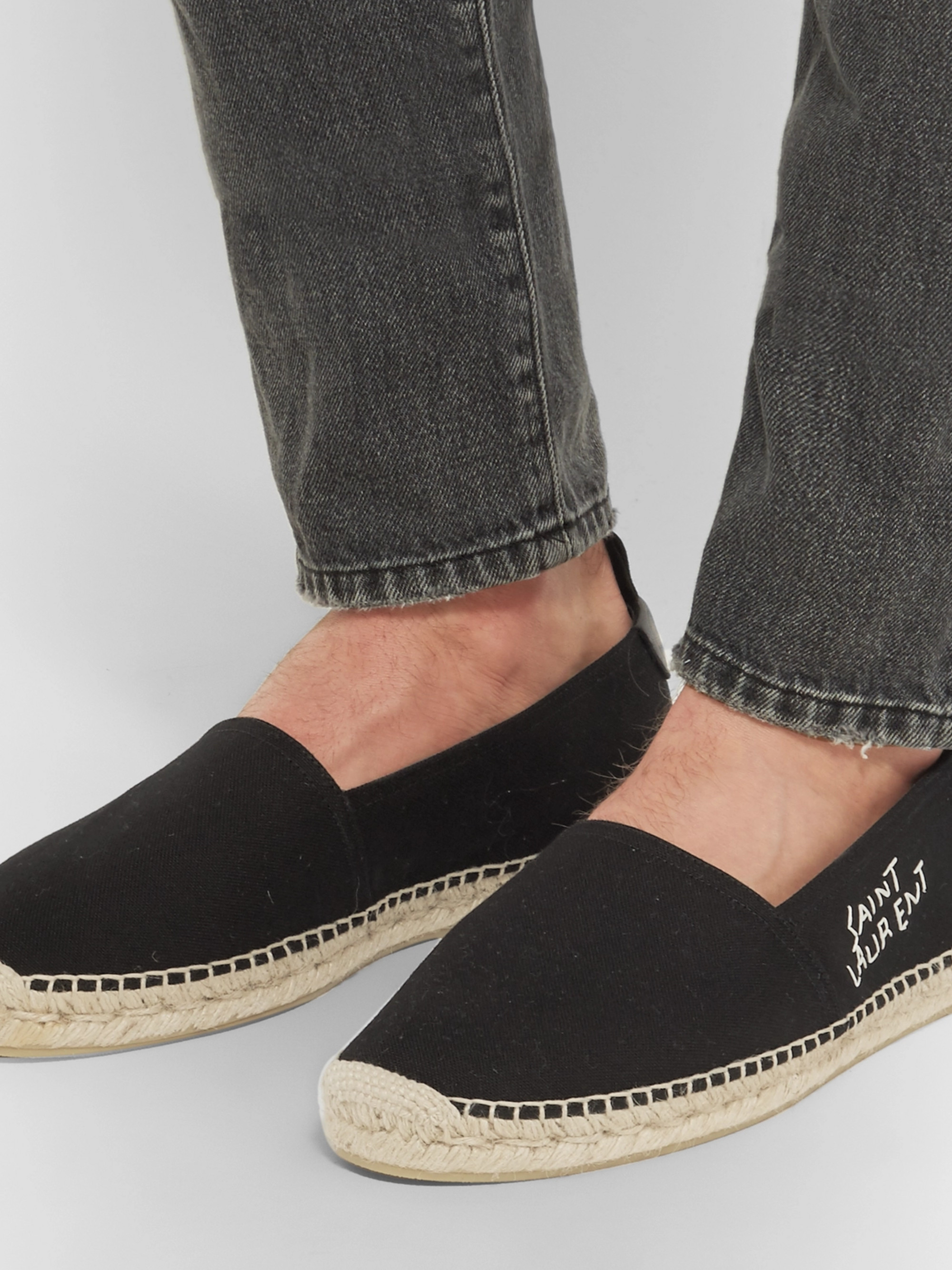 SAINT LAURENT Embroidered Canvas Espadrilles