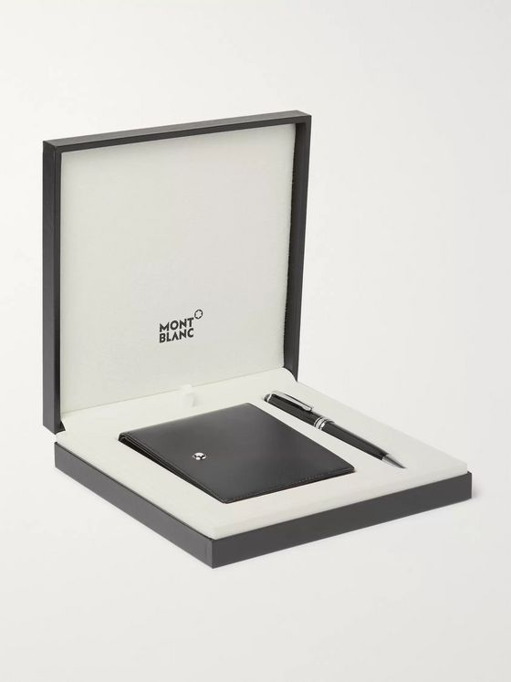 Montblanc Meisterstück Leather Billfold Wallet and Classique Resin and Platinum-Plated Ballpoint Pen Set