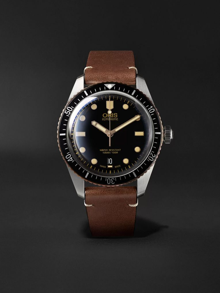 Oris Divers Sixty-Five Automatic 42mm Stainless Steel and Leather Watch, Ref. No. 01 733 7707 4354