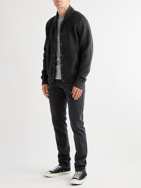 rag & bone Cardiff Shawl-Collar Waffle-Knit Cotton and Merino Wool-Blend Cardigan