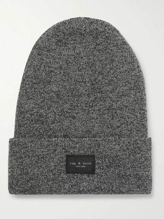 rag & bone Addison Logo-Appliquéd Mélange Wool-Blend Beanie