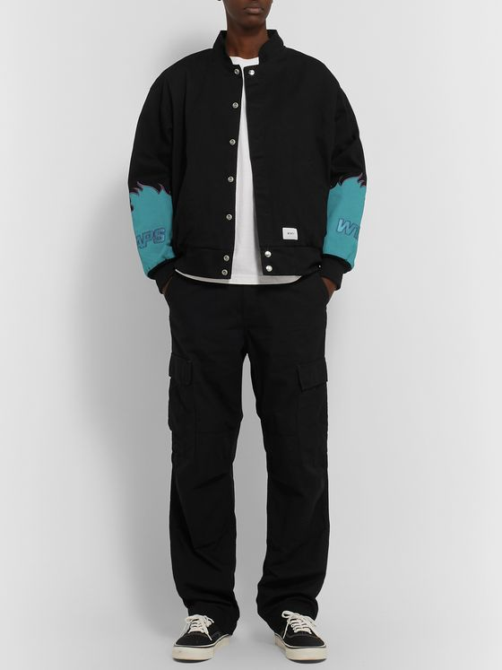 WTAPS Drifters Logo-Appliquéd Cotton-Twill Bomber Jacket