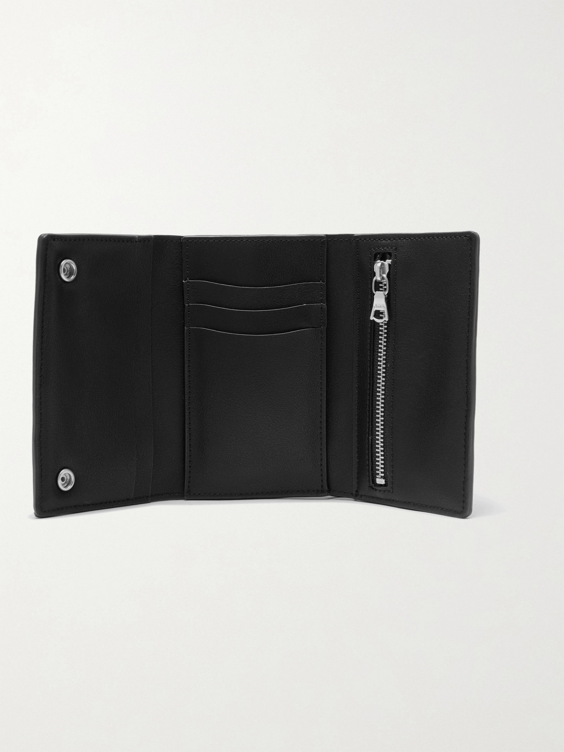 Wtaps Chain-embellished Logo-print Faux Leather Wallet In Black
