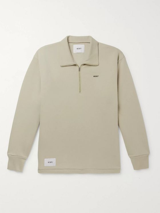 WTAPS Logo-Appliquéd Cotton-Blend Jersey Half-Zip Sweatshirt