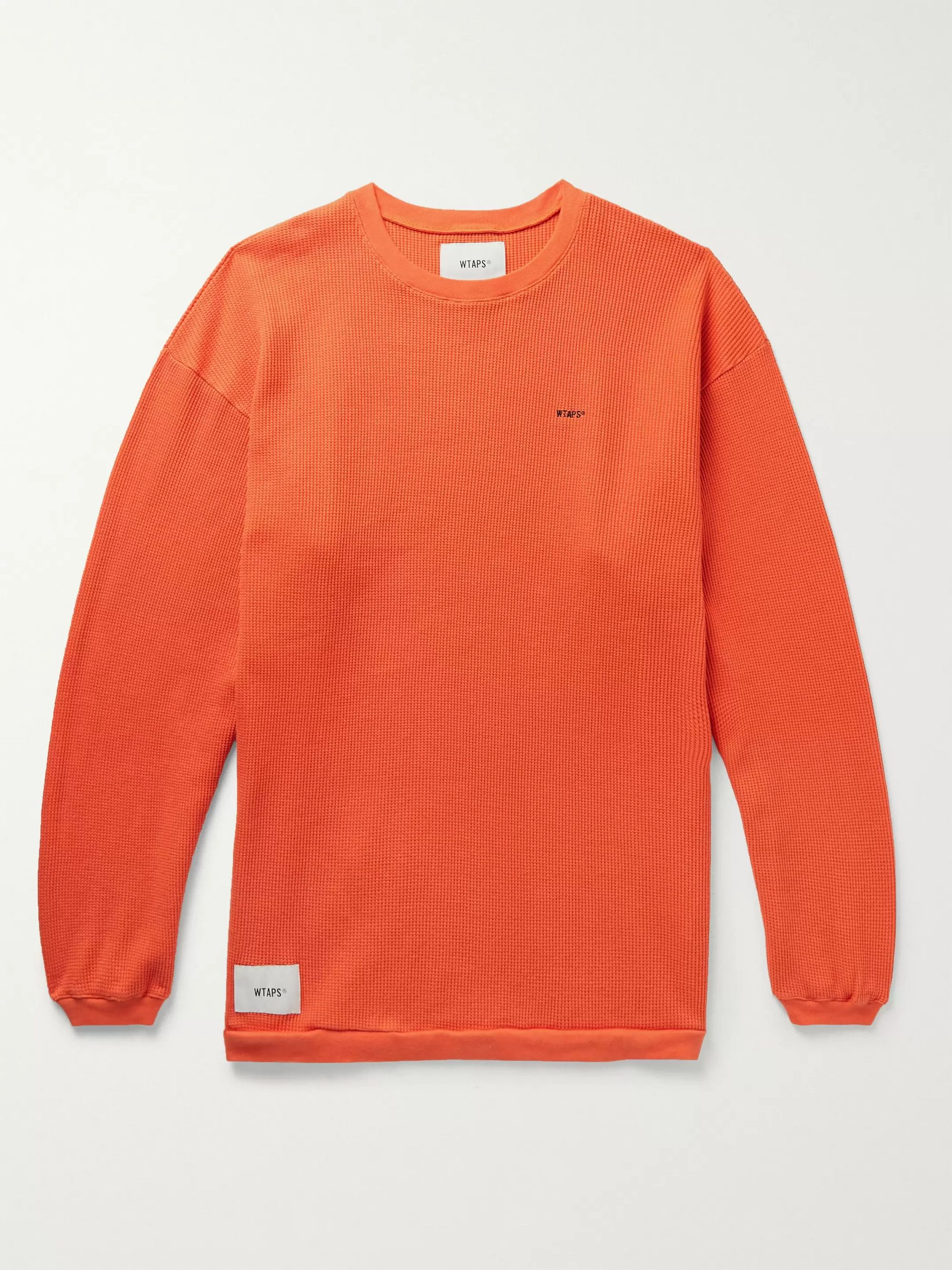 WTAPS Appliquéd Logo-Embroidered Waffle-Knit Cotton T-Shirt