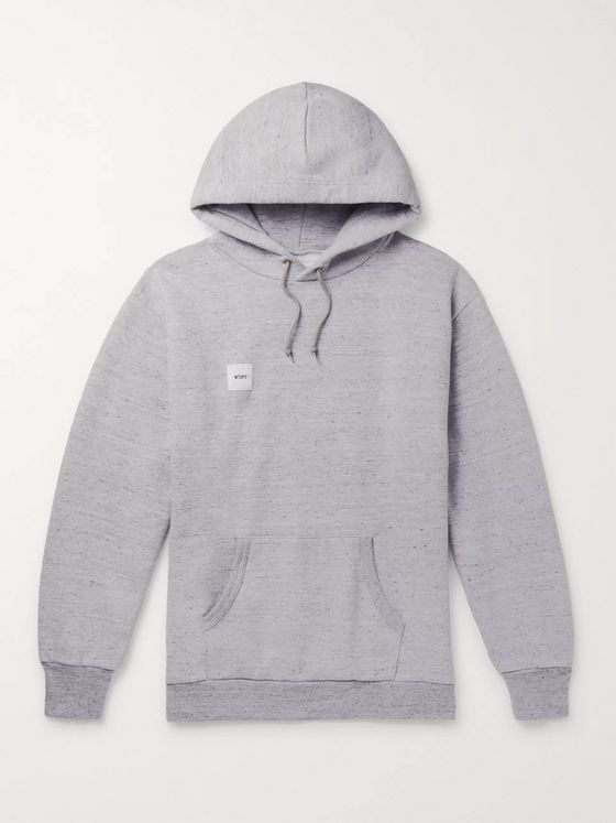 WTAPS Logo-Appliquéd Cotton-Blend Jersey Hoodie