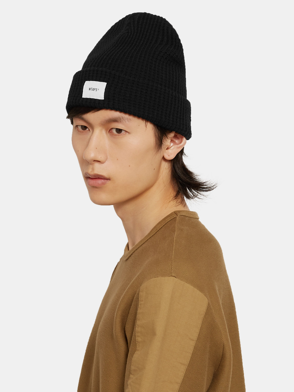 Wtaps Appliquéd Waffle-knit Cotton-blend Beanie In Black
