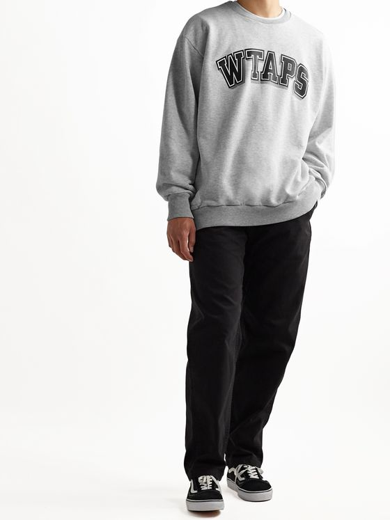 WTAPS Dawn Logo-Print Mélange Fleece-Back Cotton-Blend Jersey Sweatshirt