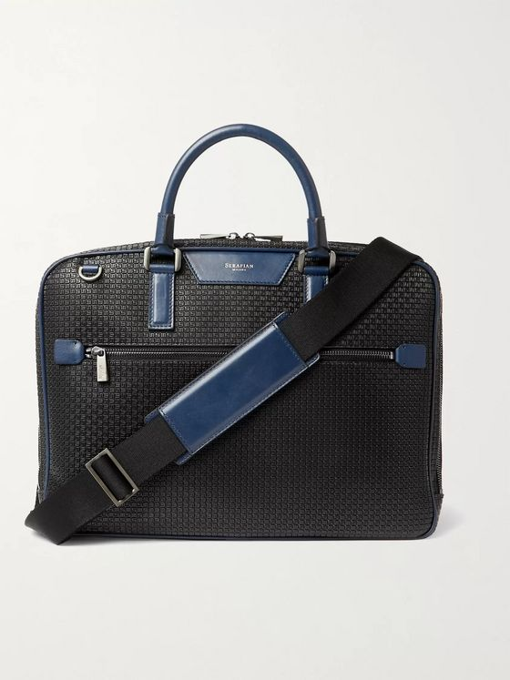 Serapian Leather-Trimmed Stepan Coated-Canvas Briefcase