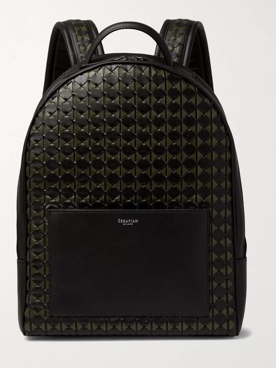 Serapian Compact Mosaico Woven Leather Backpack