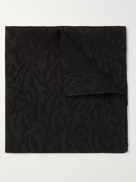 SAINT LAURENT Leopard-Print Silk-Twill Pocket Square