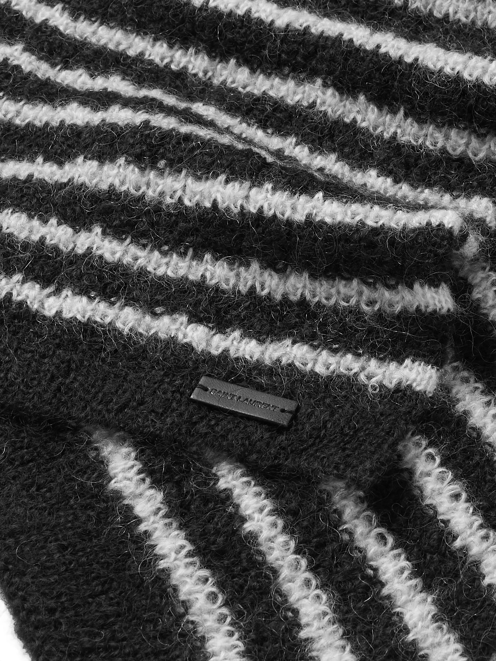 SAINT LAURENT Striped Mohair-Blend Scarf