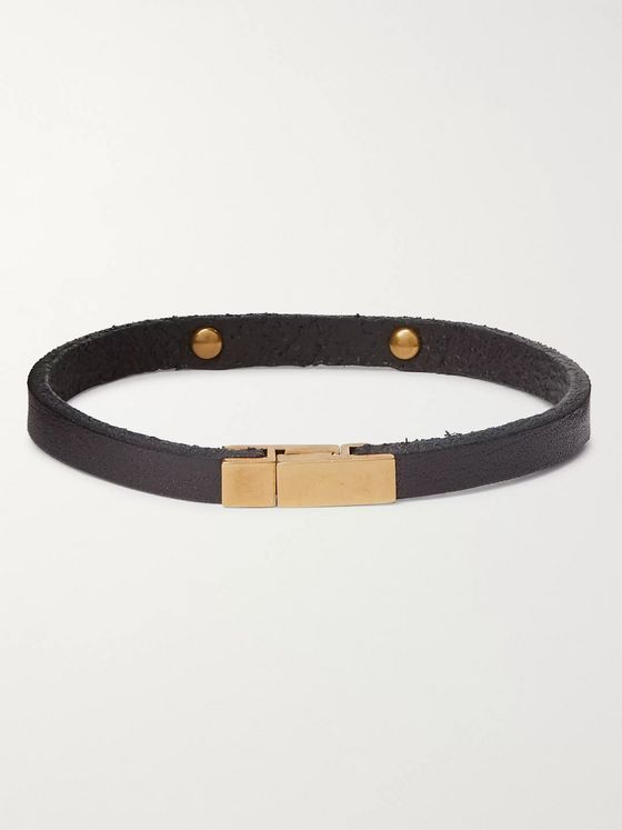 SAINT LAURENT Leather and Burnished Gold-Tone Bracelet