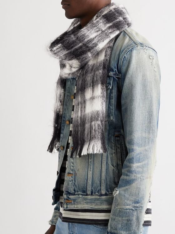 SAINT LAURENT Fringed Checked Mohair-Blend Scarf