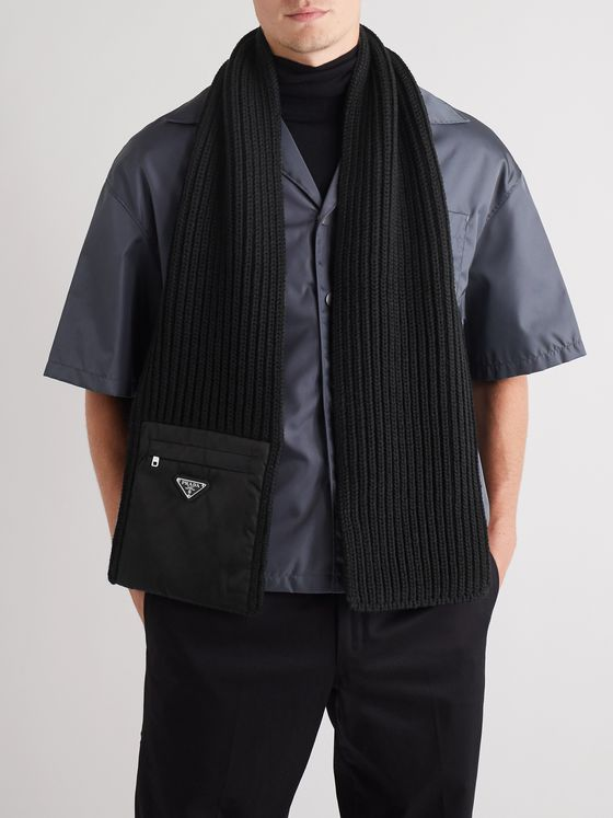 PRADA Logo-Detailed Nylon-Trimmed Ribbed Wool Scarf