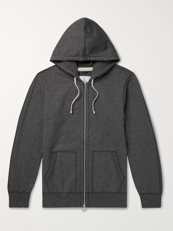 Reigning Champ Mélange Loopback Cotton-Jersey Zip-Up Hoodie