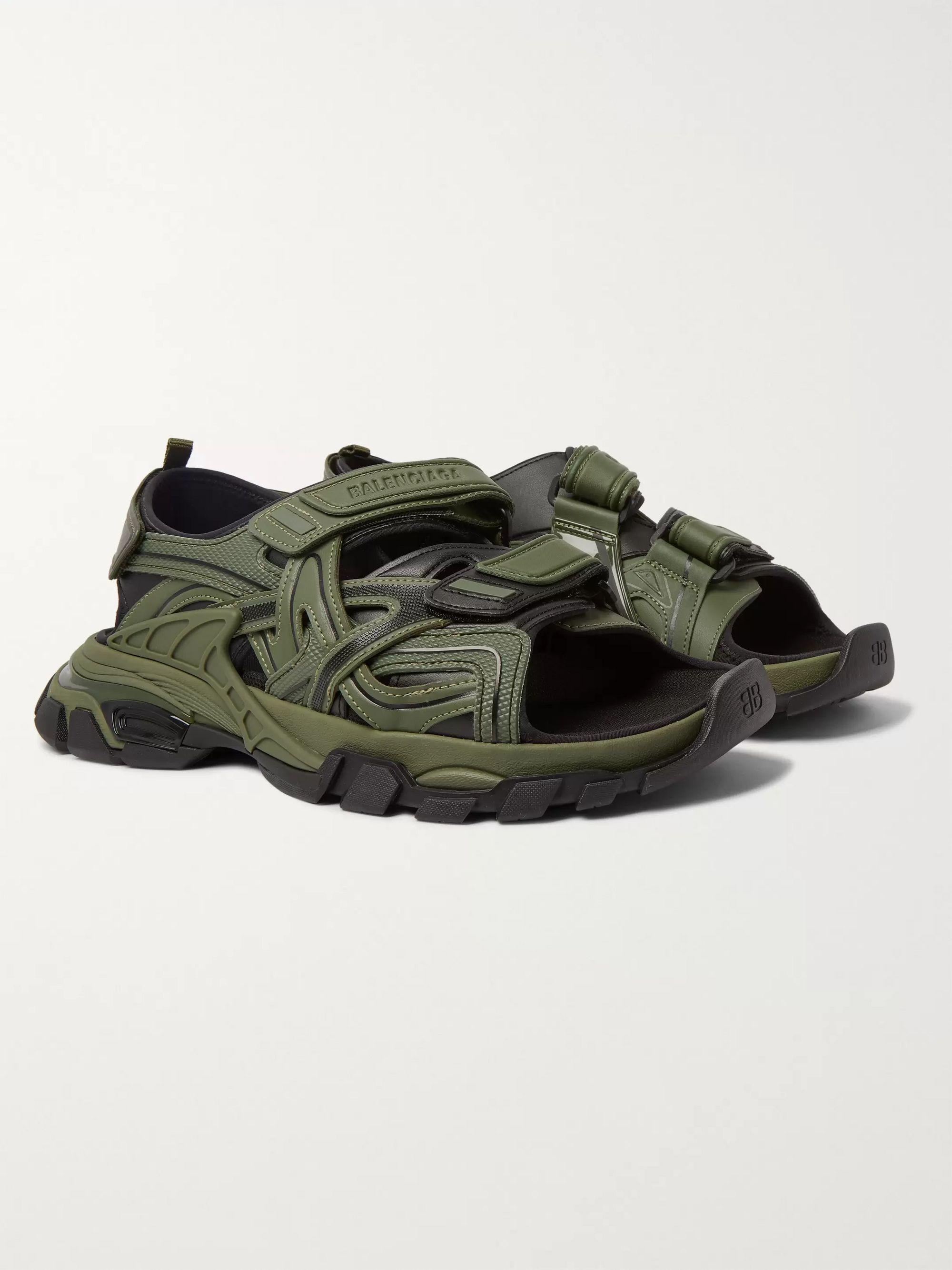 발렌시아가 Balenciaga Track Neoprene and Rubber Sandals,Green