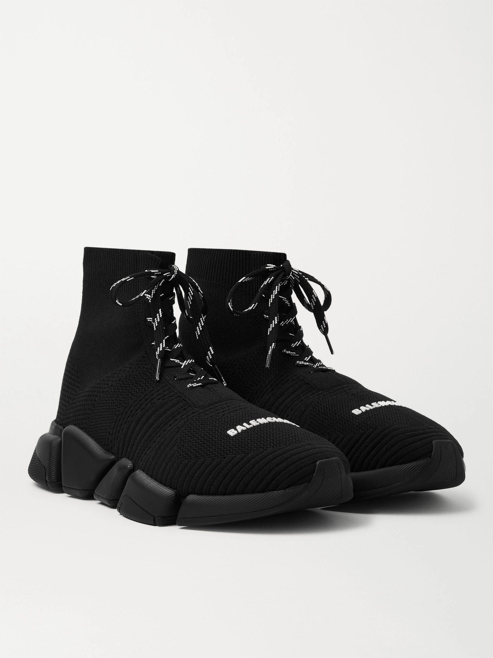 발렌시아가 스피드러너2 레이스업 남성용 - 블랙/블랙Balenciaga Speed 2.0 Stretch-Knit Sneakers,Black