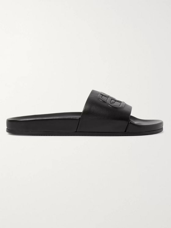 BALENCIAGA Logo-Embossed Leather Slides
