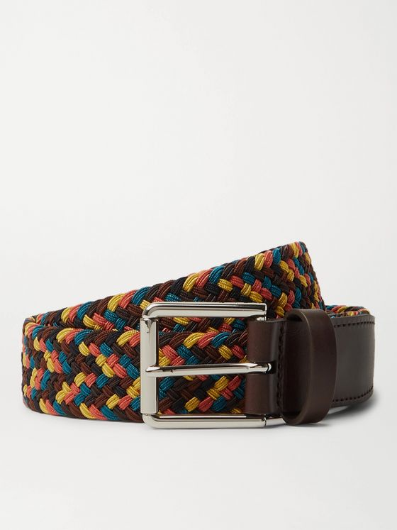 Paul Smith 3cm Leather-Trimmed Woven Cord Belt