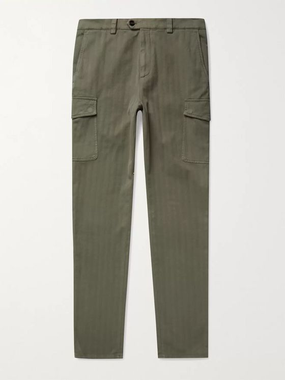Brunello Cucinelli Slim-Fit Herringbone Cotton-Blend Trousers