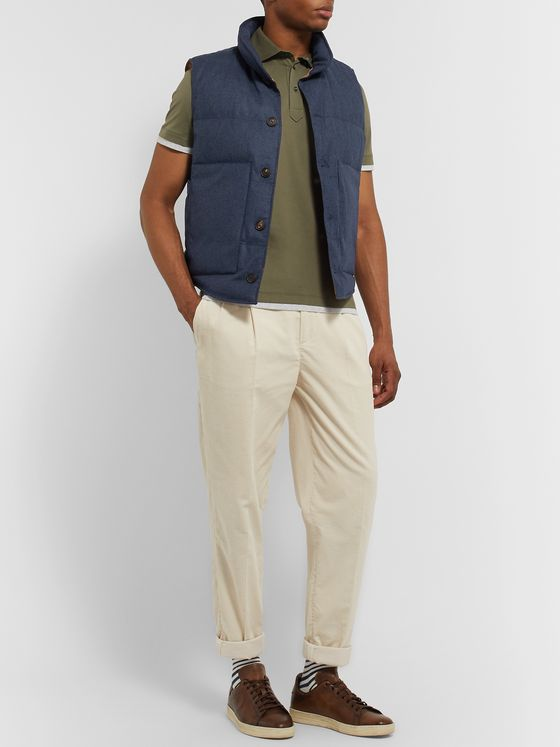 Brunello Cucinelli Slim-Fit Quilted Wool, Silk and Cashmere-Blend Flannel Down Gilet