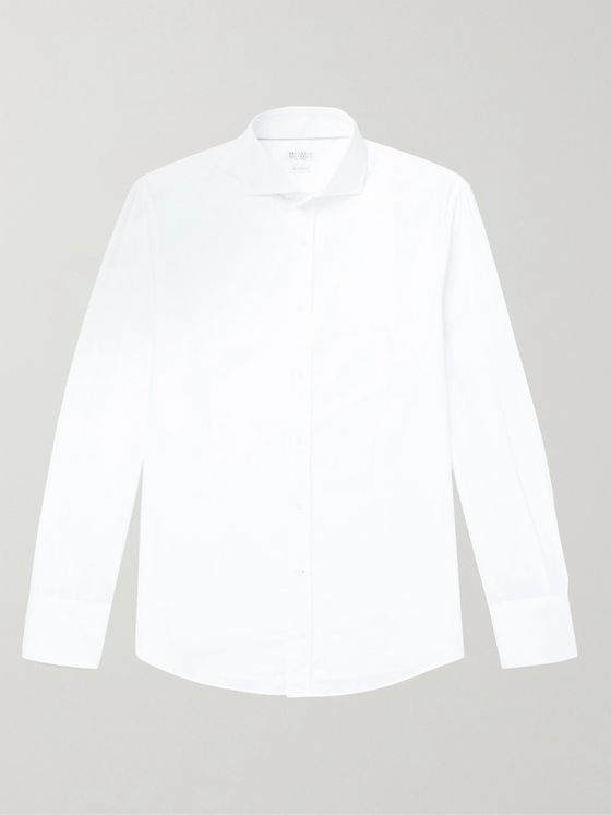 BRUNELLO CUCINELLI Slim-Fit Cutaway-Collar Cotton Shirt