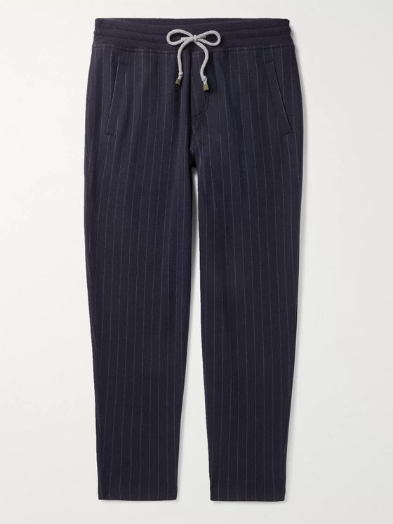 Brunello Cucinelli Pinstriped Cashmere and Cotton-Blend Sweatpants