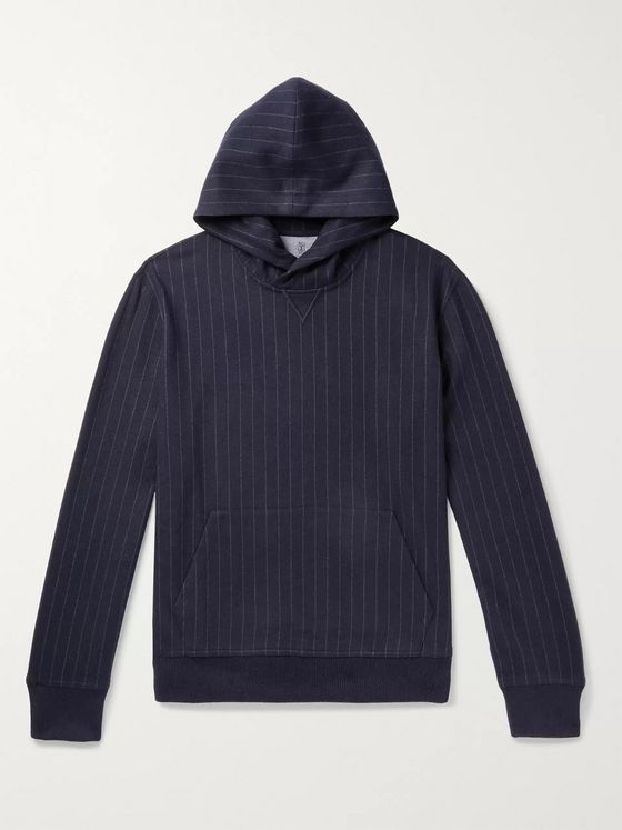 Brunello Cucinelli Pinstriped Cashmere and Cotton-Blend Hoodie