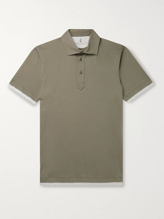 Brunello Cucinelli Slim-Fit Layered Cotton-Jersey Polo Shirt
