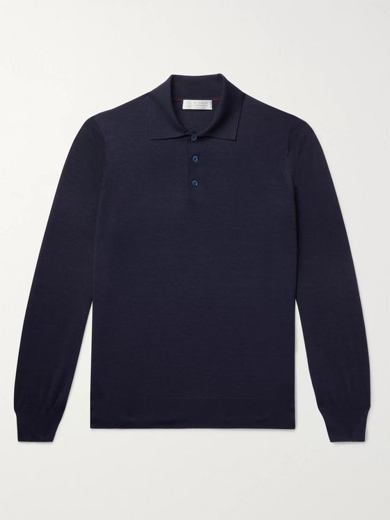 BRUNELLO CUCINELLI Virgin Wool and Cashmere-Blend Polo Shirt