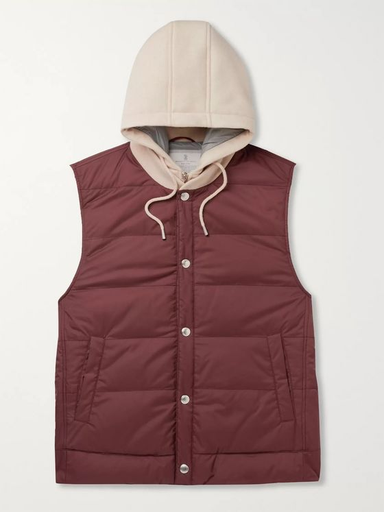 Brunello Cucinelli Wool-Jersey and Quilted Shell Hooded Down Gilet