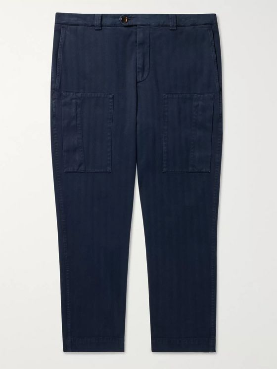 Brunello Cucinelli Cropped Herringbone Stretch Cotton-Blend Trousers
