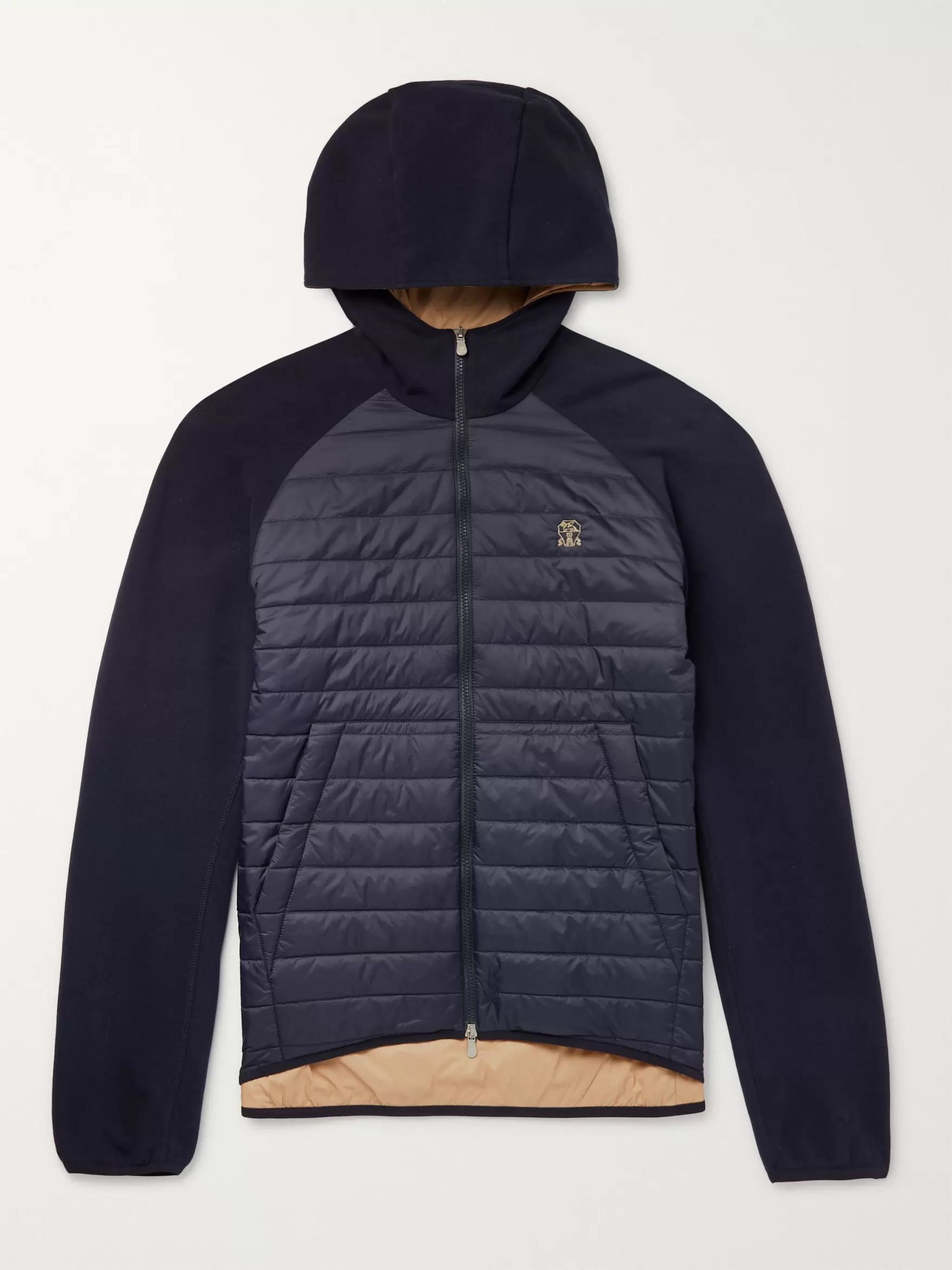 Brunello Cucinelli Quilted Nylon and Jersey Thermore Ecodown Hooded Jacket