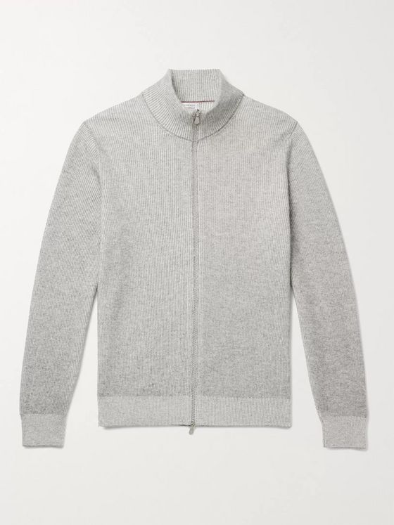 Brunello Cucinelli Ribbed Cashmere Zip-Up Cardigan