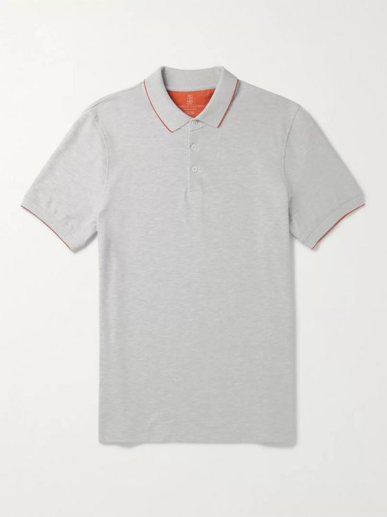 Brunello Cucinelli Slim-Fit Contrast-Tipped Mélange Cotton-Piqué Polo Shirt