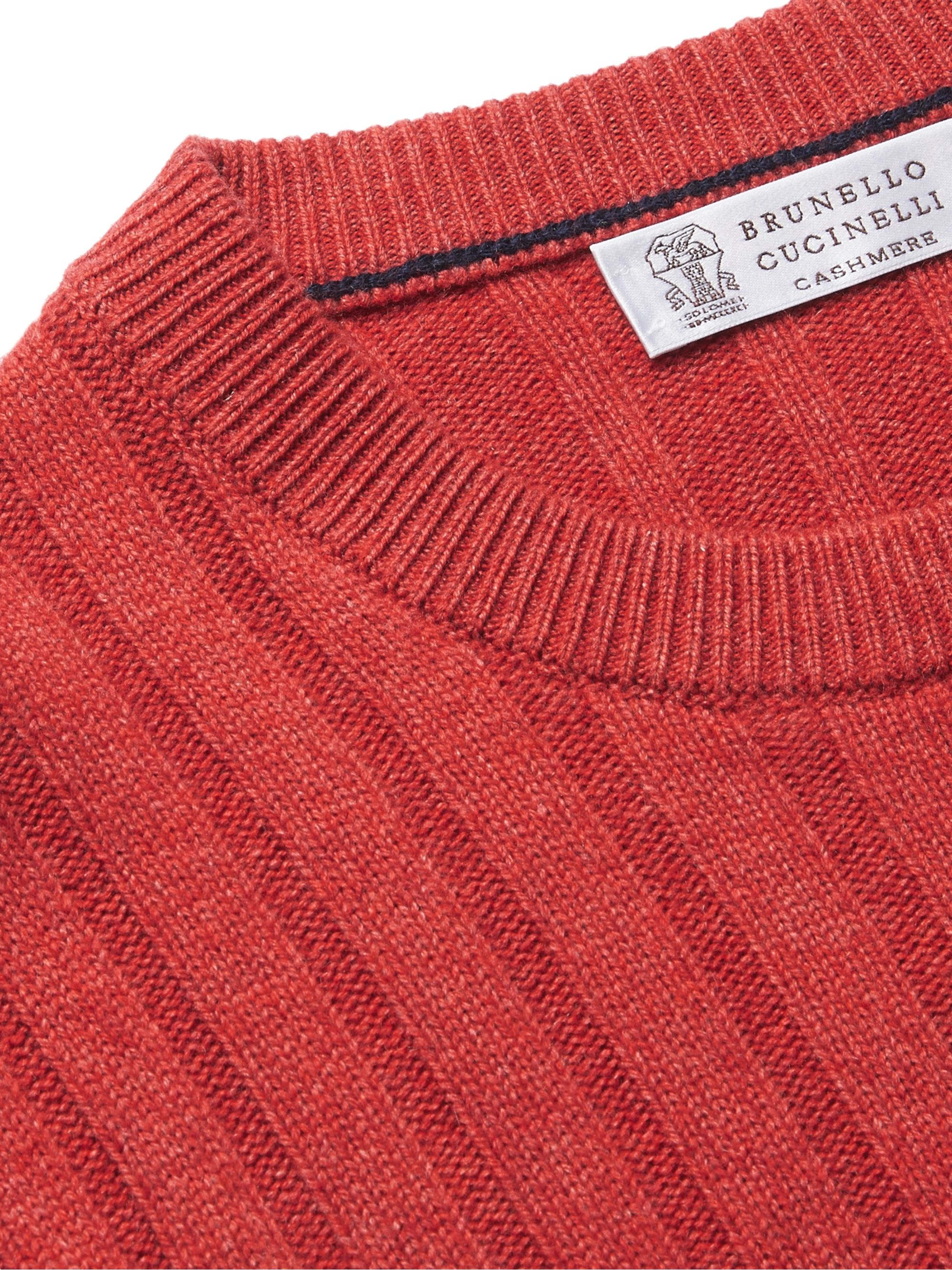 Brunello Cucinelli Slim-Fit Ribbed Virgin Wool, Cashmere and Silk-Blend Sweater