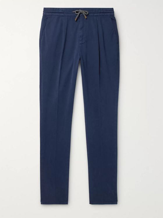 Brunello Cucinelli Tapered Pleated Cotton-Blend Twill Drawstring Trousers