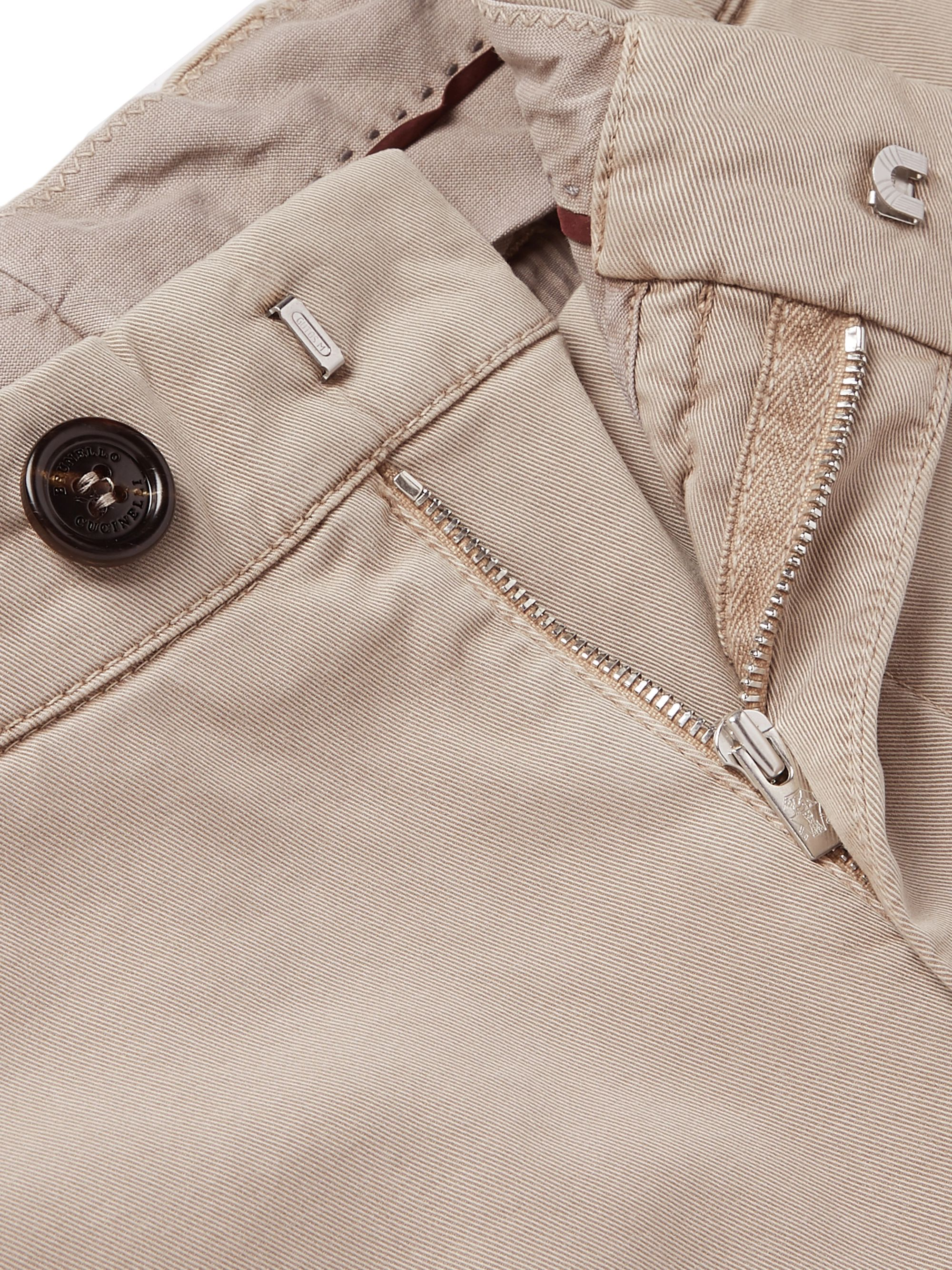Brunello Cucinelli Slim-Fit Stretch-Cotton Twill Cargo Trousers